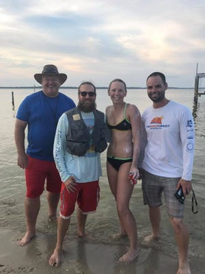 Pensacola triathlete Teresa Hess successfully swam from the Navarre Beach Boat Ramp to the Quietwater Pavilions on Pensacola Beach on Aug. 19, 2017.