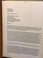 A posted letter from Linda Wilbourn, former TRMC board president, announces her resignation Wednesday afternoon.