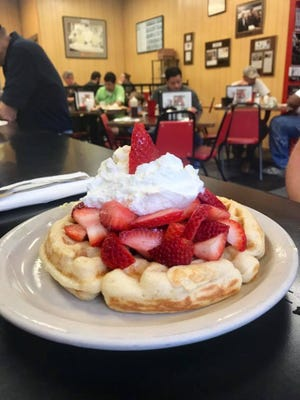 Strawberry waffles at Strawn's Eat Shop