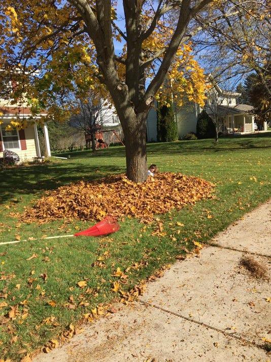Raking leaves with kids