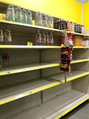 The Dollar General on Marco Island was out of water by Wednesday afternoon as residents rushed to stock up before Hurricane Irma. Stores began running out of supplies as early as Monday.