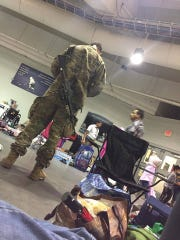 The National Guard at Germain Arena's shelter