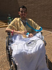 Juan Zuniga is pictured in September 2017 while still hospitalized after being shot during a robbery attempt at El Compadre.