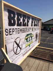 A Beef Fest sign.