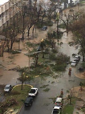 Flooding is shown in Hato Rey, in San Juan, Puerto Rico