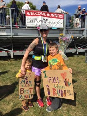 Stephanie Nottling's two sons cheered for her at the