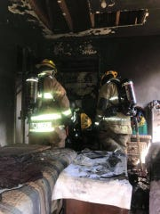 A fire heavily damaged a home Saturday.