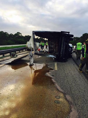 A tanker truck overturned Oct. 12, 2017, spilling cooking oil on the Turnpike.
