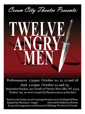Cream City Theater's Twelve Angry Men a production by Inspiration Studios in West Allis, 1500 S. 73rd St.