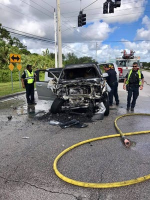 Three men were injured in a crash Oct. 19 at Port St. Lucie Boulevard and Tunis Avenue, Port St. Lucie. Six people who helped rescue one of the men from his burning vehicle will be honored with Citizen Hero Awards on Wednesday.
