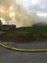 Firefighters are battling a hay bale fire in Chanceford