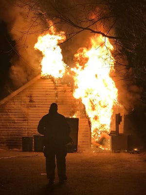 The fire that engulfed Hickman's Meat Market storage facility on Airport Road in Rehoboth Beach.