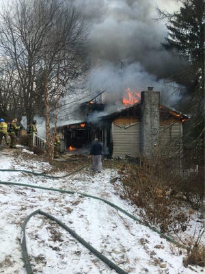 Fire officials dealt with a house fire in the 7200 block of Three Ponds Lane, Manheim Township, on Monday, Jan. 1. Photo courtesy of Lineboro Volunteer Fire Department.