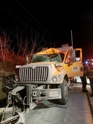 A deer smashed through the windshield of a State Highway Administration snow plow in Maryland on Friday morning. The driver was pinned under the deer but otherwise not seriously injured. The deer did not survive.