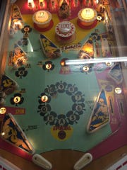 A pinball machine is shown at Colonial Lanes in Iowa