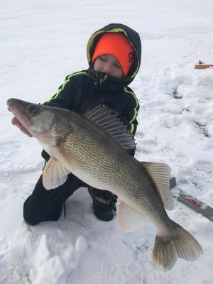 Brayden Shade with an awesome central Wisconsin walleye.