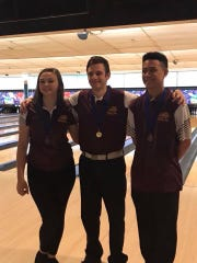 Cooper bowlers Sierra Brandt, Steven Elgowsky and Rieley Ulanday, who all qualified for state in singles.