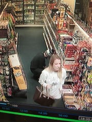 A second picture of the couple police are looking for in connection with a theft at the Shrewsbury Exxon