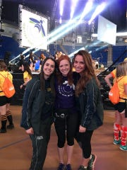 Haley Staub, center, is the public relations director for the 2018 Penn State THON. The fundraiser's biggest event, a 46-hour dance marathon, starts Friday, Feb. 16. Staub is pictured with Sam Sherlock, left, the 2017 public relations director and Lily Beatty, right, the 2016 public relations director.