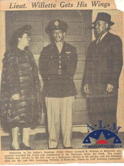 """In this undated newspaper clipping archived then flight officer Leonard R. Willette, of Belleville, is awarded his wings and commission at the Tuskegee Army Airfield. Willette was killed in action over Germany while his squadron on the 99th """"Red Tails"""" was escorting B-17 bombers to Munich."""