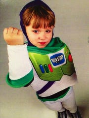 Most super heroes have a weapon of some sort. At 4, Sawyer begged for Buzz Lightyear's laser blaster.