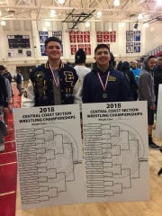 Martinez (left) and Perez stand with their medals following the CCS tournament this weekend. The nephews of Salinas Olympian Mario Martinez will compete in the state tournament this weekend in Bakersfield, Calif.