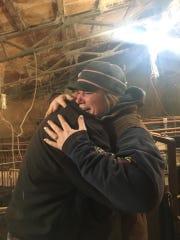 Emily Geisler-Lingren and Ben Shivers embrace after