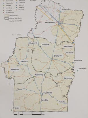 Tennessee's District 14 encompasses parts of Murfreesboro, Christiana, Chapel Hill, Unionville, Fayetteville, Park City, Lewisburg, Cornersville, Lynchburg, Wartrace and Bell Buckle.
