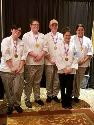 The state champion Deming High Culinary Arts Team is, from left, Lisa Klockgether, Milinda Wertz, Garrett Borden, Abigail Camarena and Brianna Escarcega.