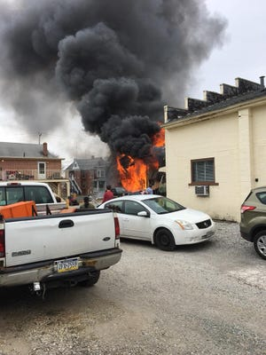Fire crews were called to this fire on Baltimore Street in Penn Township Saturday, March 17, 2018.