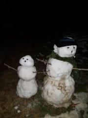 A pair of snowmen at the residence of Caelan Hoisington,