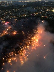 A 70-acre wildfire burned Thursday between Florida's