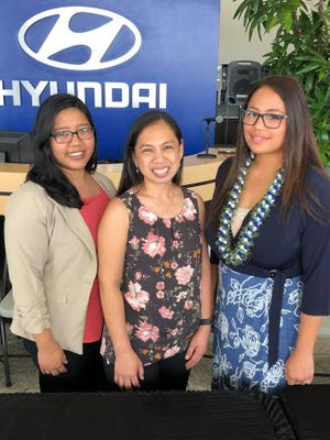 Teacher of the year finalists for 2018, from left to right, Valene Ann Salas, Maridel Perez, Jonah Marie Gumataotao