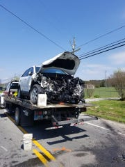 A scene from a deadly auto crash Tuesday, April 10,
