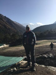 Matt Brennan at the the camp of Pheriche, 14,300 feet, on his ascent of Mount Everest.