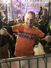 "IndyCar driver Tony Kanaan came to cheer on fellow driver Scott Dixon during his attempt on the ""American Ninja Warrior"" course in Downtown Indianapolis on Sunday."