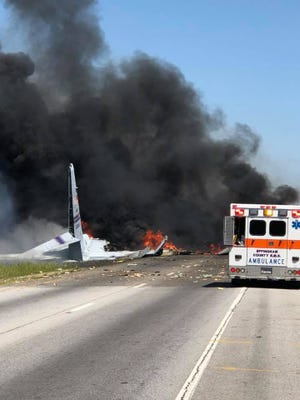 A C-130 military transport plane crashed near the airport in Savannah, Ga.
