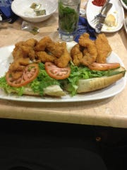 A catfish poyboy from a New Orleans restaurant