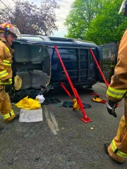 Overturned vehicle in the area of West Henry and Spruce streets in Linden on Friday.