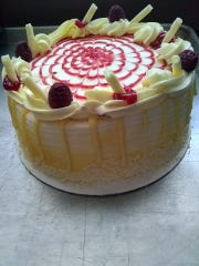 Lemon chocolate raspberry cake from Shee B Baking.