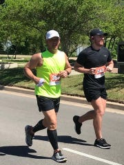 Chambersburg's Mark Ward, left, competes in the Silo District Marathon in Waco, Tx. last weekend. Ward crossed the finish line in 4:41:24.