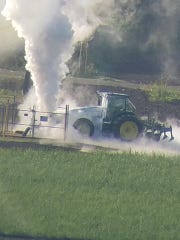 Tractor hits gas line.