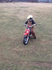 Gracie Sheets, who was then 7, taking her first dirt