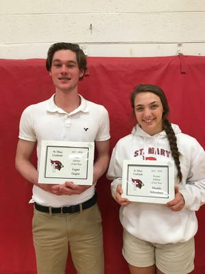 Logan Gaspar and Maddie Schwebach are the 2018 athletes of the year at St. Mary High School.