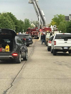 Canton Fire Department vehicles had traffic backed up while responding to the fire.