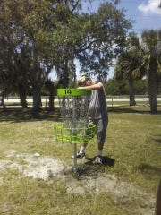 Treasure Coast Disc Golf Club member Mark Baldwin designed the 18-hole course, while other members helped to install the 18 holes (baskets) throughout the 156-acre multi-use sports complex.