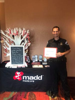 Milford Police Officer Dan Caldwell was recently honored by Mothers Against Driving Drunk.