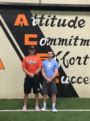Delmarva Aces owner Dave Whigham (left) stands with The Athlete Academy owner Cody Revel (right) as the two team up to help athletes throughout the Eastern Shore.