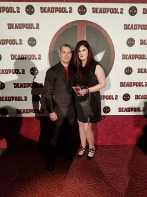 """James Eversole and his wife, Jessica Eversole, attend the """"Deadpool 2"""" premiere May 14 in New York City."""