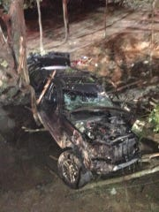 The driver of this Jeep Grand Cherokee was trapped